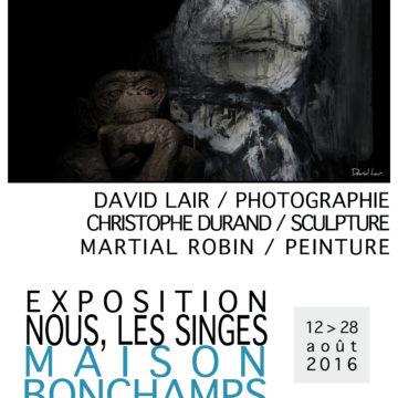 EXPOSITION NOUS, LES SINGES de David Lair / Martial Robin et Christophe Durand  à la Maison Bonchamps